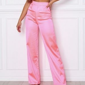 White fox boutique less talk pants neon pink